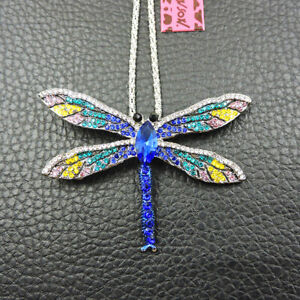 Betsey Johnson Blue Rhinestone Fashion Dragonfly Charm Pendant Necklace Chain