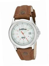 Reloj de Cuarzo Timex Expedition para Hombres, Blanco Pantalla Analógica, Correa De Cuero Marrón