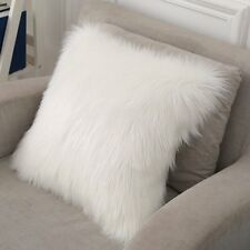 "1pcs Faux sheepskin Fur Square White Pillowcase Cushion 20""x20"" fabric back US"