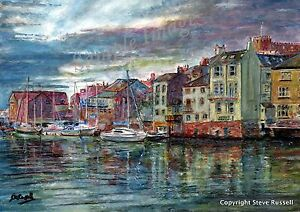 Whitby Yorkshire Coast Art Print of Seascape watercolour painting RussellArt