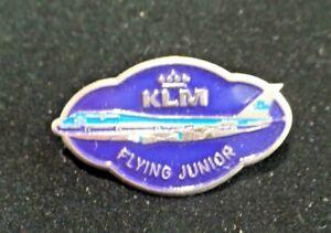 """Vintage KLM Airlines Flying Junior Pin Blue Enameled Metal Jet Plane 1 5/8"""" 7810"""
