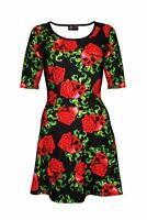 Enchanting Gothic Skull Roses Rockabilly Short Sleeve Skater Dress Goth Emo Punk