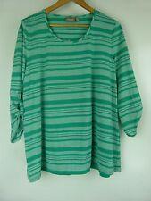 SUSSAN Top/Blouse Sz XL,16 Green White Stripe Print