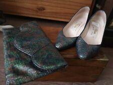 Vintage 1970's Renata leather shoes size 35 matching mock crock multi clutch