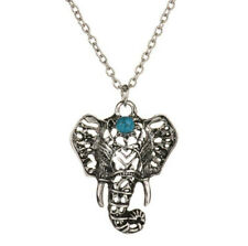 Silver Plated Vintage Elephant Necklace Chain Women Hollow Turquoise Decor