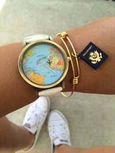 World Traveler Passport Bangle Globetrotter Travel Gold Charm Bracelet Gift