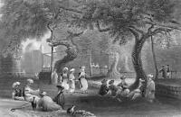 SYRIA Sheik's House at Zebdane Al Zabadani - 1839 Engraving Print by Bartlett