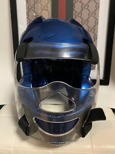 Pro Force Thunder Blue Karate Head Guard Sparring Headgear Face Shield Youth XL
