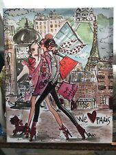 """Izak """"We Love Paris"""" Canvas Painting 20""""X16"""" Excellent Condition Signed"""