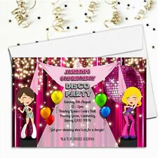 10 Personalised Girls DISCO Dance Birthday Party Invitations ~ N76 ANY AGE