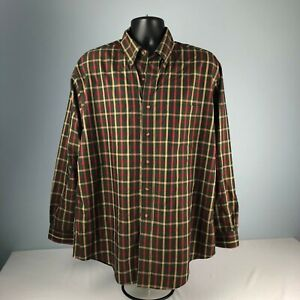 BROOKS BROTHERS 346 red green beige MEN'S L plaid LONG SLEEVE button down SHIRT