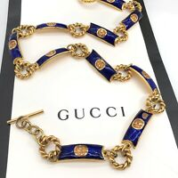 "Gucci Authentic Vintage 80s GG Logo Chain Link Belt Gold Blue 28"" US XS Rare"