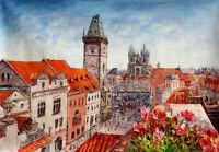 Original Modern Abstract Oil Painting Handmade knife Prague Wall Art Canvas Deco