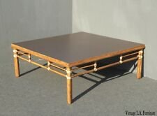 Vintage McGuire Mid Century Modern Bamboo Rattan Coffee Table w Leather Bindings