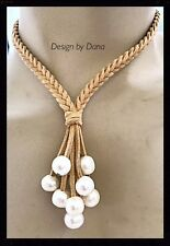 Braided Suede-Beige-Genuine Pearl-Tassel Necklace-Equestrian Jewelry-Adjustable
