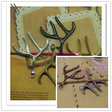 wholesale 5/10/20pcs Retro Style alloy antlers fashion Charm pendant 4 color