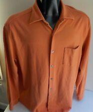 TALBOTS Mens LS Button Front Orange Knit LS Shirt 100% Cotton SZ LARGE