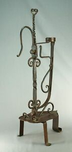 "! Antique c.1800 Wrought Iron Rush Candle Holder Scandinavian/Swedish 21.5"" Tall"