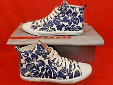 NIB PRADA WHITE BLUE FLORAL DENIM LEATHER CANVAS HIGH TOP LACE UP SNEAKERS 35