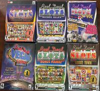 Lot of 6 PC Slots Machine Games Reel Deal Blackbeard Nickel Alley Ghost Town