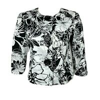 COLDWATER CREEK Black White 3/4 Sleeve Floral Jacket Womens Size PS Petite Small