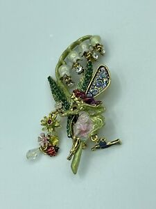 NEW! Kirks Folly - Fairy Princess Hummingbird Flower Pin Brooch - Crystal Charms