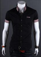 Hommes Chemise manche courte fine boutonné Robe habillé décontracté T-shirt Haut