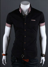 Men's Stylish Formal Dress Shirt Short Sleeve Slim Fit Business Casual Shirt Top