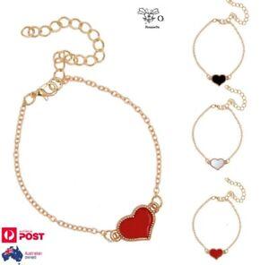 Love Heart Bracelet Red Black White Enamel Gold Alloy Womens Charm Bangle