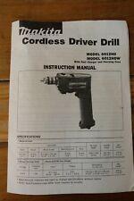 Makita 6012HD Cordless Driver Drill Instruction Manual Only.