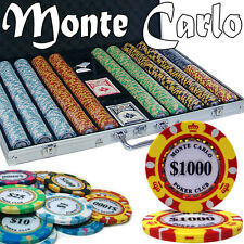 New 1000 Monte Carlo 14g Clay Poker Chips Set with Aluminum Case - Pick Chips!