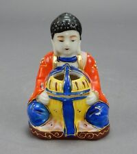 "Japanese Satsuma,Sitting Amida Buddha Figurine Serenity incense burner 4"""