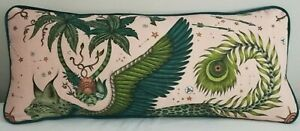 Emma J Shipley LYNX PINK LINEN cushion **FREE FEATHER PAD** 72cm x 30cm