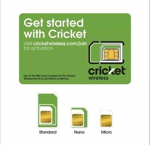 NEW CRICKET WIRELESS 4G LTE, 5G  SIM CARD  Good For Activation