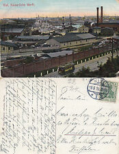 1910 KIEL SHIPBUILDING YARD GERMANY COLOUR POSTCARD