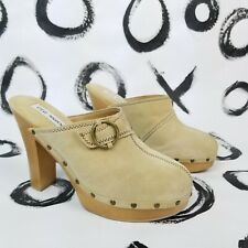 Vintage 90s Y2K Steve Madden Clogs Mules Suede Leather Tan Paris Style Size 10