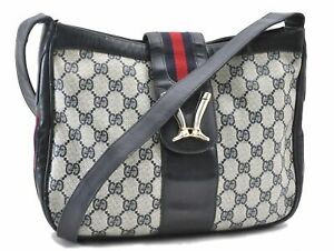 Authentic GUCCI Sherry Line Shoulder Cross Body Bag GG PVC Leather Navy D8851