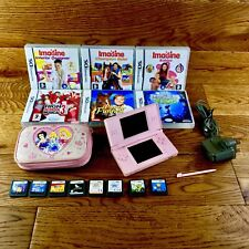 Nintendo Ds Lite Pink Girls Bundle 15 Games Genuine Charger Princess Case Stylus