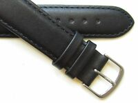Black stitched plain genuine leather watch band