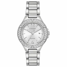 Ladies Citizen Eco-Drive Silver Stainless Swarovski Date Watch FE1160-54A