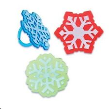 12 Snowflakes Cupcake Party Rings Christmas Holiday Winter Snow Red Blue Green