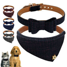 British Bow Tie Cat Dog Collars&Bandana Soft Leather Padded Necklace for Pets