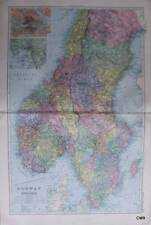 1885 Large Victorian Map - Bacon's World Atlas - NORWAY AND SWEDEN