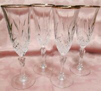 Crystal Champagne Flute With Gold Trim - Set of 4