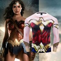 Superhero Wonder Woman Costume Cosplay Compression Tights Quick-Drying T-shirt