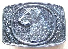 Vintage LAB LABRADOR or GOLDEN RETRIEVER Silver Pewter Belt Buckle