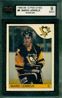 1985 86 OPC #9 MARIO LEMIEUX ROOKIE CARD KSA 9 MINT