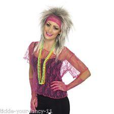 Womens 80's Neon Pink Dance Costume Lace Net Vest Flashdance Fancy Dress