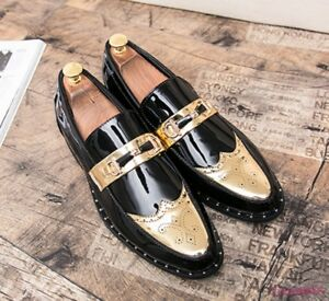 Mens Vogue Wing tip Slip on Flats shoes Pointy toe Metal Decor Casual Loafers