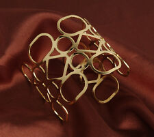 New Geometrical Gold Curved Design Metal Fashion Cuff Arm Adjustable Bracelet